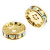 Rhinestone Rondelle (Flat Round) 10mm Gold/ Crystal Aurora Borealis